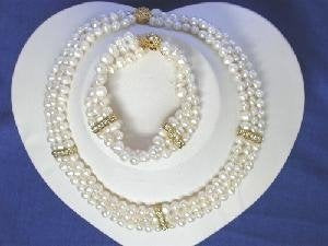 "Beautiful! 16"" 3rows 5-6mm white Pearl Necklace set"