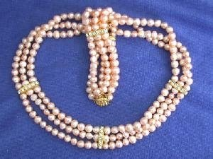 "Beautiful! 16"" 3rows 5-6mm pink cultured FW Pearl Necklace and m"