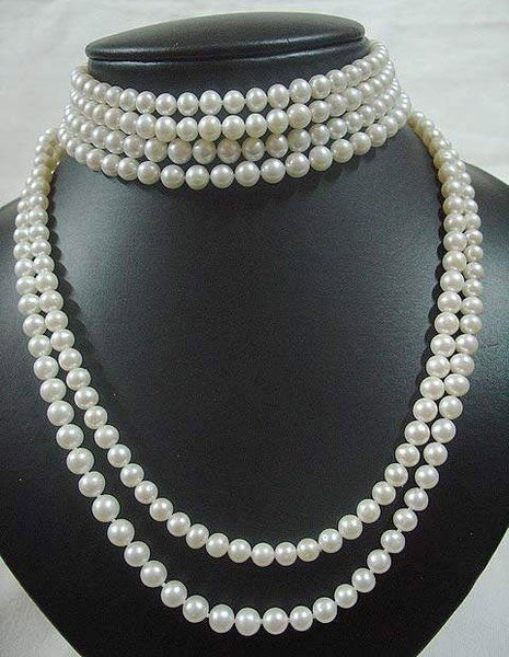 6 strands white pearl choker and necklace
