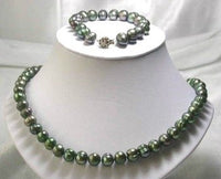 "17""/7.5"" 9-10mm green pearl necklace set"