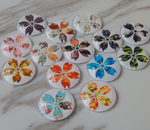 100 X FLORAL CABOCHON - HALF ROUND/DOME PRINTED GLASS GLUE ON 8-20MM