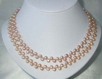 "17"" double 6-7mm pink pearl necklace"