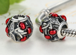 Sterling 925 silver red cherry boat bead pendant fits European charm bracelet