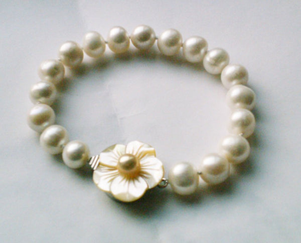 "Grade AA 7.5"" 10mm white pearl &silver clasp bracelet"