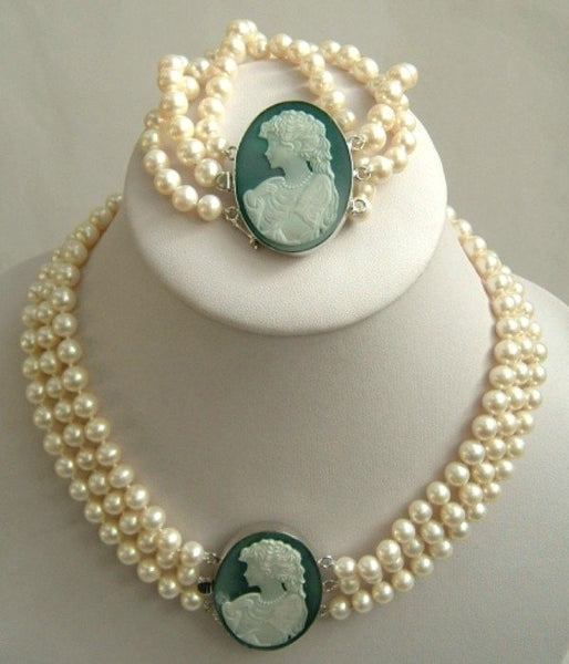 Real white freshwater pearl Cameo Agate silver set