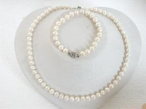 "Beautiful! 17"" 7-8mm white round cultured FW pearl necklace"