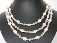 "16""-20"" 3rows 5-6mm pink cultured FW Pearl&shell bead Necklace"