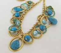 Natural Turquoise and Golden Alloy Chain Necklace