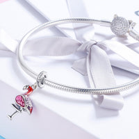 Sterling 925 silver charm the flamingo pendant fits Pandora charm and European charm bracelet