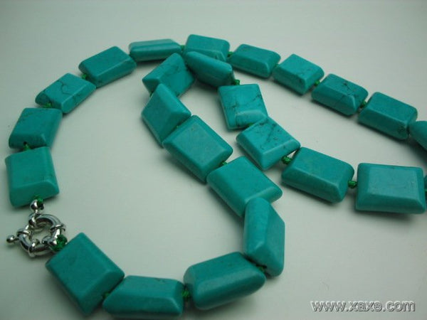"18"" 16mm green rectangular turquoise necklace"