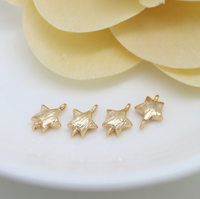 10 pcs 24k gold plated cubic star brass spacer beads  brass caps brass connector