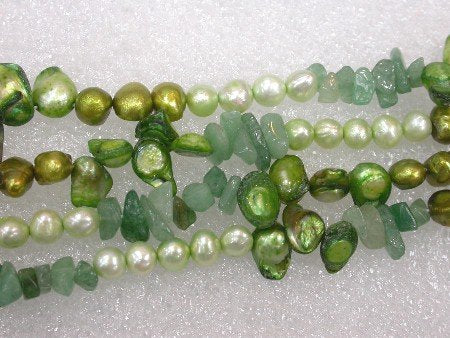 2 strands 40'' green Pearl and jade Necklace