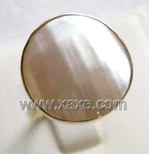 Luxurious 16mm white mabe pearl ring 14K