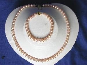 "Beautiful! 17"" 7-8mm pink A cultured FW pearl necklace"