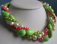 4 Strands 8-9mm Multicolor Pearl & Tuequoise Necklace