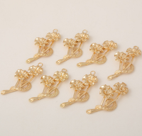 5 pcs 24k gold plated two flowers pendant brass spacer beads  brass caps brass connector