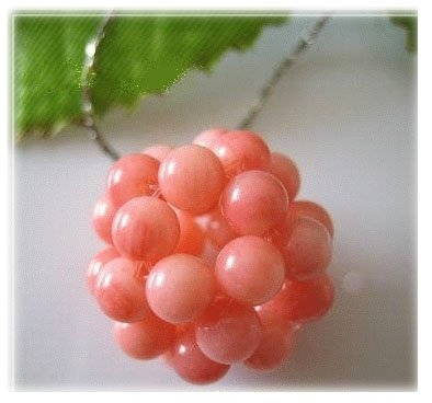 16'' pink coral bead kint ball necklace silver chain