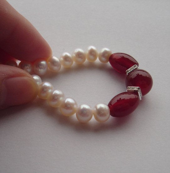 "16.5"" 7-8mm white pearl red agate necklace"