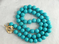 "17"" 7MM Stylish Natural Blue Turquoise Necklace"