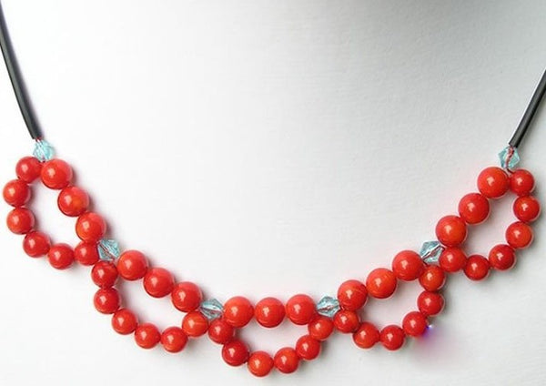 17'' coral bead knit necklace black strap