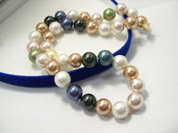 CHarming single row multi-color sea shell pearl necklace