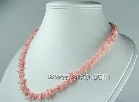 Lovely light pink coral chip necklace