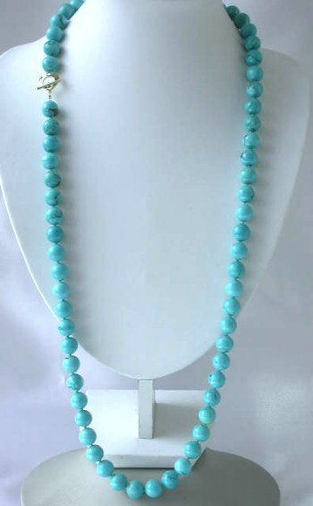 "Brand new 36"" 12mm blue round turquoise necklace"