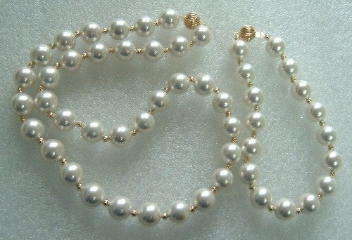 19'' 10mm white color sea shell pearls necklace set