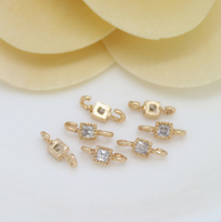 10 pcs 24k gold plated cubic samll square brass spacer beads  brass caps brass connector