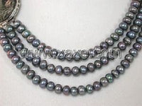 "14.5""-16.5"" 3rows 7-7.5mm black cultured FW pearl necklace"