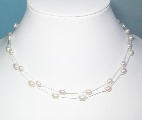 2 Rows Feminine Style Small Freshwater Pearl Necklace