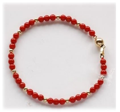 Natural red 4mm blood coral bracelet 14k