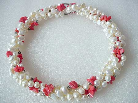 36'' 2-STR WHITE FW PEARL & PINK CORAL CHIPS NECKLACE