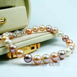 "7"" 7-8mm colorful pearl bracelet"