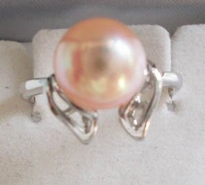 Pearl ring on silver holder - PR1085