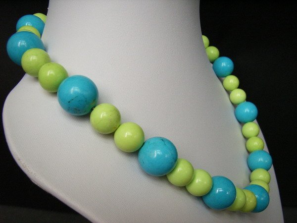Blue and Green Turquoise Necklace and Bracelet set