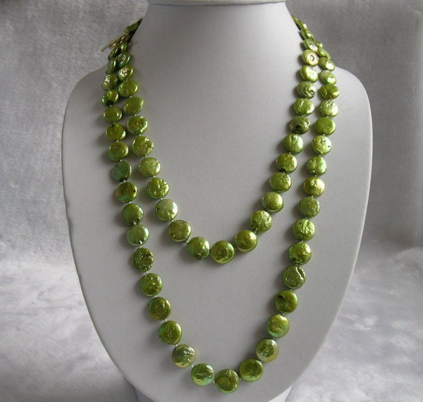 12-13mm Green Coin Pearl Necklace 48inch