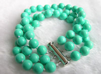 3 Strands 8mm Nature Turquoise Bracelet 7.5 inch