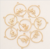 10 pcs 24k gold plated birds on stick pendant brass spacer beads  brass caps brass connector