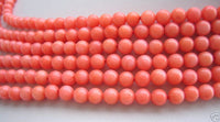 6 strands round nature pink coral beads necklace