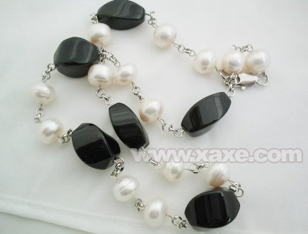 17'' white pearl and facet agate bead chain necklace