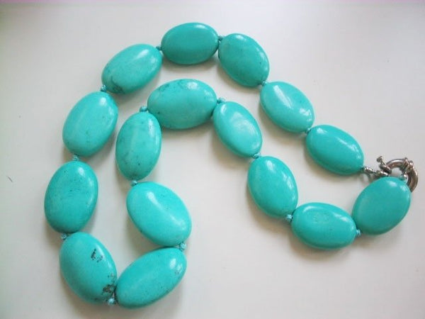 "18"" 20mm cyan color turquoise necklace"