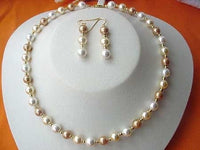 16.5'' 8MM SEA SHELL PEARL NECKLACE EARRING SET 14K GOLD