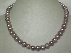 "Beautiful! 15.5"" 7.5-8.5mm purple cultured FW pearl necklace&14k"