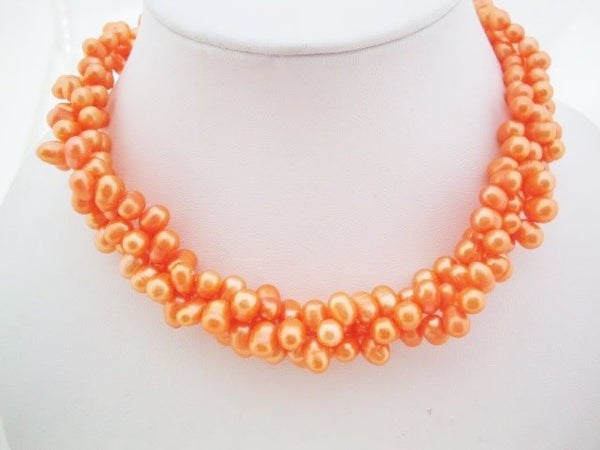 3 rows orange freshwater pearl necklace