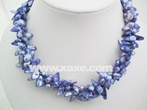 18'' graceful multistrands biwa pearl necklace - purple