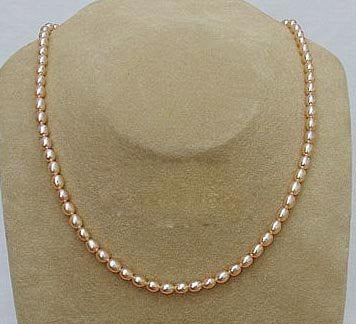 17'' 4-5mm rice pink pearl necklace heart