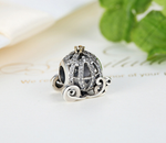 925 Sterling Silver Charm Adorable pumpkin carriage Bead Fits Pandora, Biagi, Troll, Chamilla and Many Other European Charm