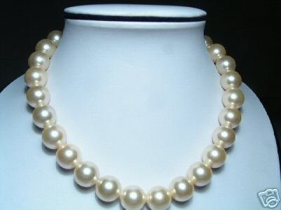 14mm Lustrous Real Yellow Seashell Pearls Necklace