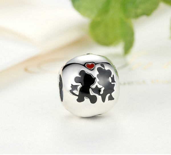 Sterling 925 silver Mickey love bead pendant fits Pandora charm and European bracelet